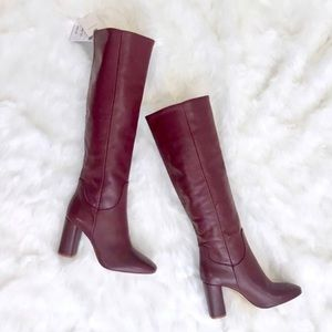 Zara Burgundy Leather Tall Block Heel Boots
